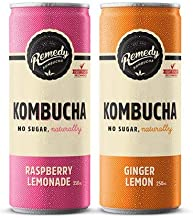 Remedy Raw Organic Kombucha Tea - Sparkling Live Cultured Drink - Sugar Free 2 Flavor Variety Pack - 8.5 Fl Oz Can, 12-Pack