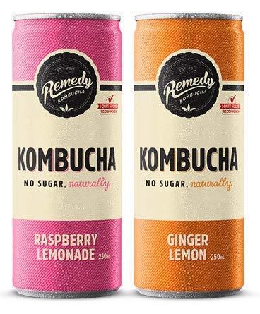 Remedy Raw Organic Kombucha Tea - Sparkling Live Cultured Drink - 2 Flavor Variety Pack - 8.5 Fl Oz Can, 12-Pack