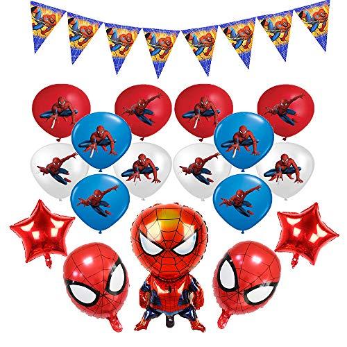 smileh Decorazioni di Compleanno Spiderman Palloncini Striscioni Spider Man Tema di Alluminio Foglio Palloncini per Bambini Decorazione per Feste di Compleanno