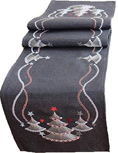 Raebel - Stillvoller Weihnachtstischläufer mit edler silberner Stickerei - grau/Silber/rot (Silberne Weihnachtsbäume, 40 x 90 cm)