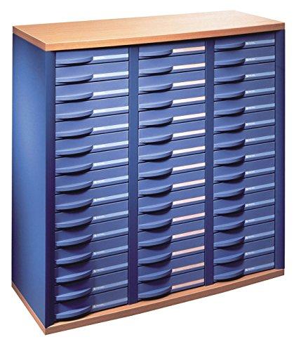 Rexel 1355207 Comptoir Stratis 3 Colonnes 45 Tiroirs Bleu Cobalt