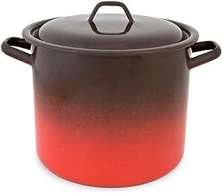 Menax - Olla de Cocina Alta con Tapa - Modelo Fuego - Acero Vitrificado - 24 cm