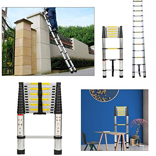 14.5FT Telescoping Ladder Aluminum Telescopic Extension Ladder, One-Button Retraction Portable Collapsible Ladder for Home Roof RV Use, EN131 Certified with Carry Bag, 330lbs Capacity (14.5FT)