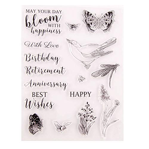 Greeting Phrase Sentiment Happy Birthday Anniversary Retirement Best Wishes Flowers Butterfly Bird Dragonfly Clear Stamps for Card Making Decoration or DIY Scrapbooking
