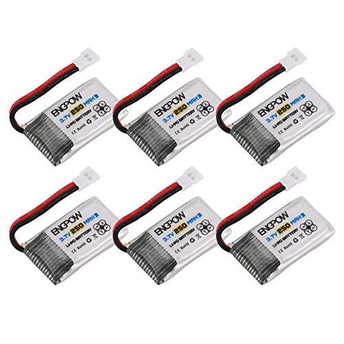 Cloverclover 6PCS Engpow 3.7V 250mAh 1S batería Recargable de Lipo para Syma X4 / X11 RC Drone