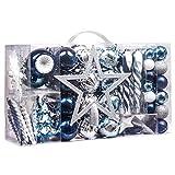 Valery Madelyn 100 Piezas Bolas de Navidad de 3-8cm, Adornos Navideños para Arbol, Decoración de Bolas de Navidad Plástico de Azul y Plata, Regalos de Colgantes de Navidad (Deseos de Invierno)