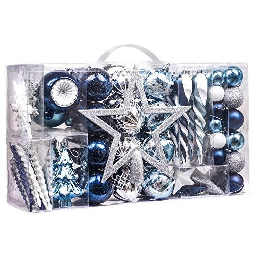 Valery Madelyn Palle di Natale 100 Pezzi di Palline di Natale, 3-5 cm Auguri Invernali Argento e Blu Infrangibili Ornamenti di Palle di Natale per Decorazioni per Alberi di Natale