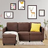 Esright Convertible Sectional Sofa Couch with Ottoman, Modern Linen Fabric L-Shaped Couch with Reversible Chaise, for Small Space, Apartment, Living Room and Hotel Lobby, Brown