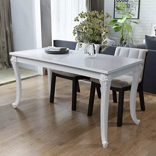 Tidyard High Gloss Dining Table, Rectangular Dining Table for Home Dining Room Kitchen Living Room...