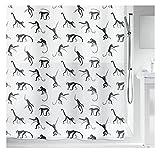Duschvorhang Waschbar Schwarzweiße Affen Silhouetten Cartoon Einfach Duschvorhang Polyester Textil Schnelltrocknend Atmungsaktiv