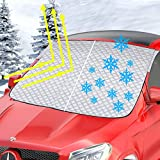 Bliifuu Windshield Snow Cover, Snow Sun Shade Dustptoof All Weather Protection Outdoor, 4-Layer Thick Material Fits Most Cars Trucks Vans and SUV
