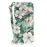 vingarshern Hülle für LG K5 Schutzhülle Etui Tasche Klappbares Magnetverschluss Flip Hülle Lederhülle Handytasche LG K5 Hülle Leder Brieftasche(Magnolie-2) MEHRWEG