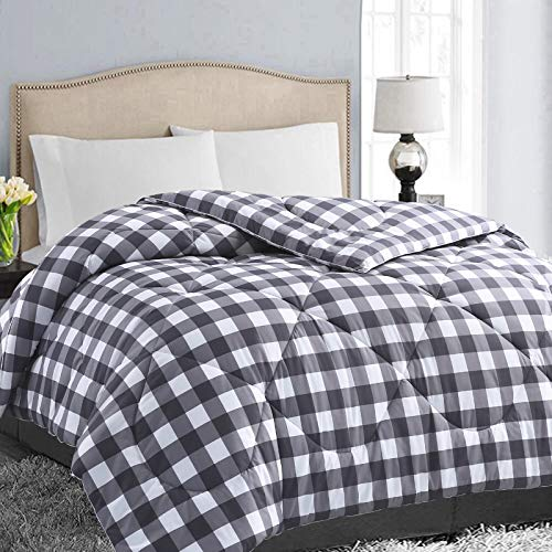 EASELAND All Season King Size Soft Quilted Down Alternative Comforter Reversible Duvet Insert with Corner Tabs,Winter Summer Warm Fluffy Hypoallergenic,Dark Grey White,90x102 inches