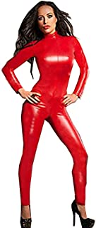 Fashion Queen Women's One Pieces Bodysuit Wetlook Zipper Front Nightclub Lingerie Red Catsuit