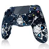 Mando inalámbrico para PS4, Controlador de Doble vibración de Alto Rendimiento Compatible con Playstation 4 / Pro/Slim/PC con función de Audio, Mini LED - Skull