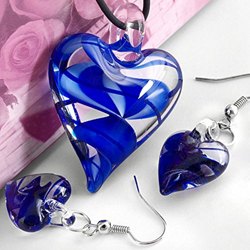 skyllc Conjunto Collar Pendientes Cristal de Murano Diseño Corazón