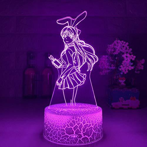 Lámpara de noche 3D con ilusión LED 3D, diseño de conejo, niña, Senpai mayo, Sakurajima, Kawaii, multicolor