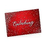 5 edle Klapp-Einladungskarten Rot Glitzer inkl. 5 weißen hochwertigen Briefumschlägen