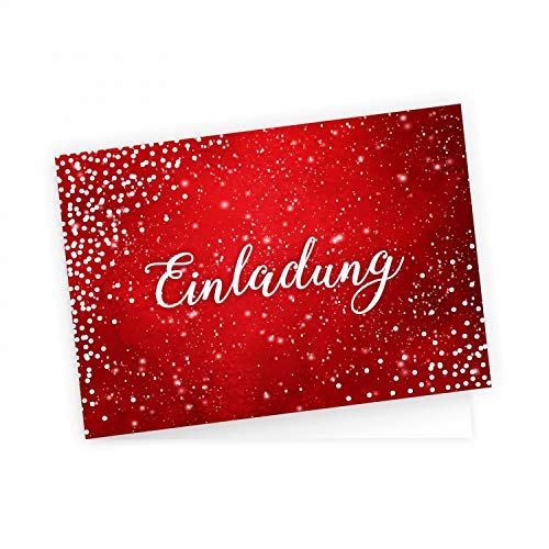 5 edle Klapp-Einladungskarten Rot Glitzer inkl. 5 weißen hochwertigen Briefumschlägen - Hochzeit Geburtstag Konfirmation Jubiläum