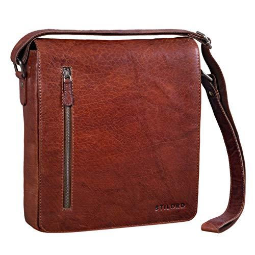 STILORD 'Jones' Herrentasche Leder Mittel-Groß Umhängetasche im Hochformat Messenger Bag im Vintage Design für 13,3 Zoll MacBook DIN A4 Echtleder, Farbe:Brandy - braun