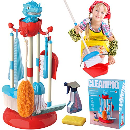 of toy broom and mops GINMIC Detachable Kids Cleaning Toy Set, Pretend Play Household Cleaning Tools - Includes Broom, Mop, Duster, Brush, Squirt Bottle and Hanging Stand Play, Housekeeping Toys for Toddlers Girls & Boys