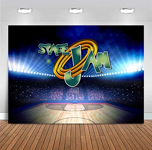 Indoor Basketball Court Photography Backdrop 7x5ft Vinyl for Children Boys Space Jam Themed Birthday Party Supplies Baby Shower Sport Stadium Photo Background Decorations Banner Photo Booths