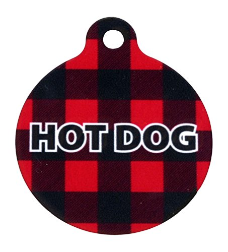 Yellow Dog Design Buffalo Plaid Red Personalized Hi Def Pet ID Tag with Silencer, Small 1'