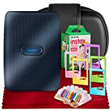 Fujifilm Instax Mini Link Smartphone Printer (Dark Denim) + Case, Instax Mini Twin Film (20 Exposures), Colorful Frames with Hanging Clips, Funky Frames & Fibertique Microfiber Cleaning Cloth