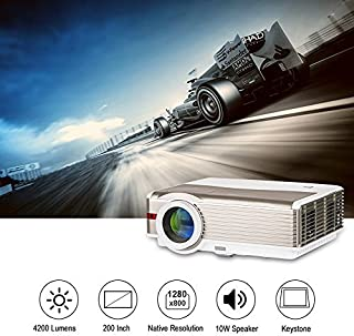 "LED LCD 4200 Lumens WXGA High Resolution Projector 200"" Home Outdoor Movie Theater Proyector with Dual HDMI,Dual USB,VGA,A..."