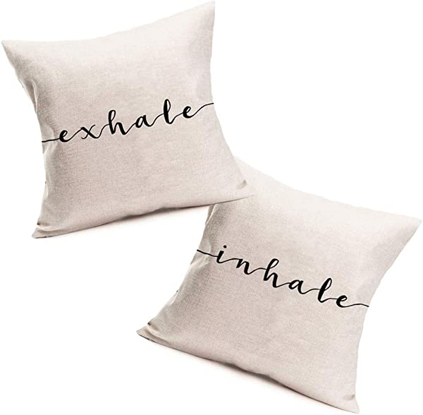 Fukeen Inhale Exhale Throw Pillow Cases Funny Words Lettering Decorative Pillow Covers Cotton Linen Home Sofa Armchair Bedroom Decor Set Of 2 Black White Pillow Cushion Cover 18x18 Inch Square