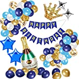 Ulikey Cumpleaños Decoracion Globos, Azul Oro Plata Globos de Cumpleaños Feliz Fiesta, Azul Pancarta de Feliz Cumpleaños con Blanco Globos, Globos De Confeti para Boda, Aniversario, Decoración Fondo