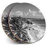 Posavasos redondos de vinilo de Destination Ltd (juego de 2) – Ruinas de Tulum Mexico Riviera Maya Viaje Bebida Brillante Posavasos / Protección de mesa para cualquier tipo de mesa #43461