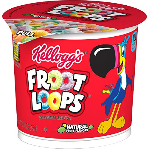 Kellogg's Froot Loops, Breakfast Cereal in a Cup, Low Fat, Bulk Size, 1.5 Ounce (12 Count)