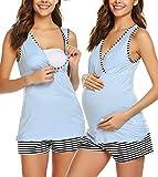 Ekouaer Womens Maternity Nursing Pajama Set Soft Comfy Pregnancy Breastfeeding Sleepwear Blue L