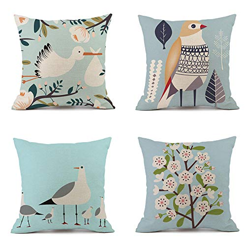 Large Cushions Covers Cotton Linen Pillow Covers Square Cushion Cover Flower And Plant Cushion Cover For Sofa Bedroom Living Room Car Couch 4 Pcs 50X50Cm (With Invisible Zipper)