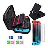 JUSONEY Kit de Accesorios Switch Compatible con Nintendo Switch: Incluye Funda con 20 Cartuchos de Juego / Funda con Tapa Transparente / 2 Piezas de Protector de Pantalla HD(Black)