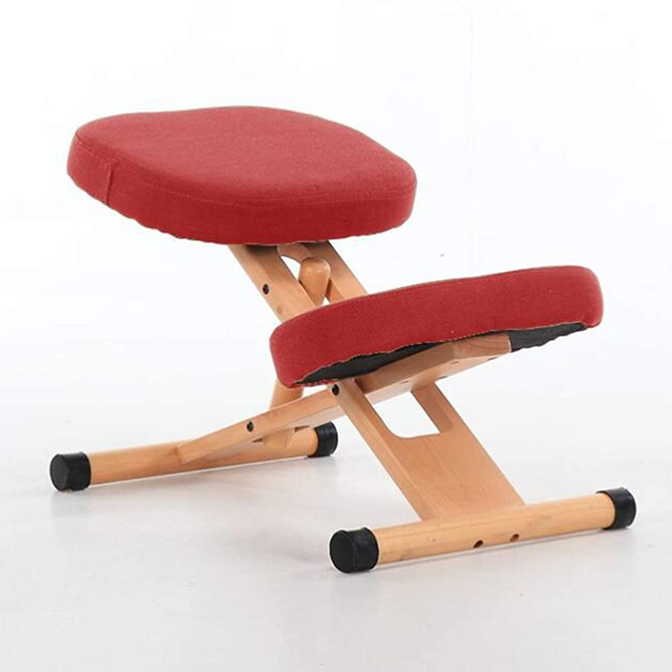 相対サイズ苦味繁殖ひざまずく椅子、無垢材は上げられ、人間工学に基づいたひざまずく椅子の姿勢矯正椅子を下げることができます、背圧を緩和し、長時間座ります(色:赤)