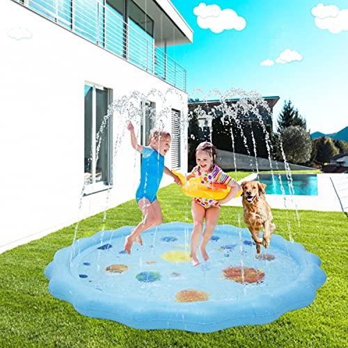 Gusbudye, tappetino da gioco per bambini, 175 cm, gonfiabile, estivo, all'aperto, irrigatore, per piscina, per neonati e bambini, per imparare il sistema solare pianeta