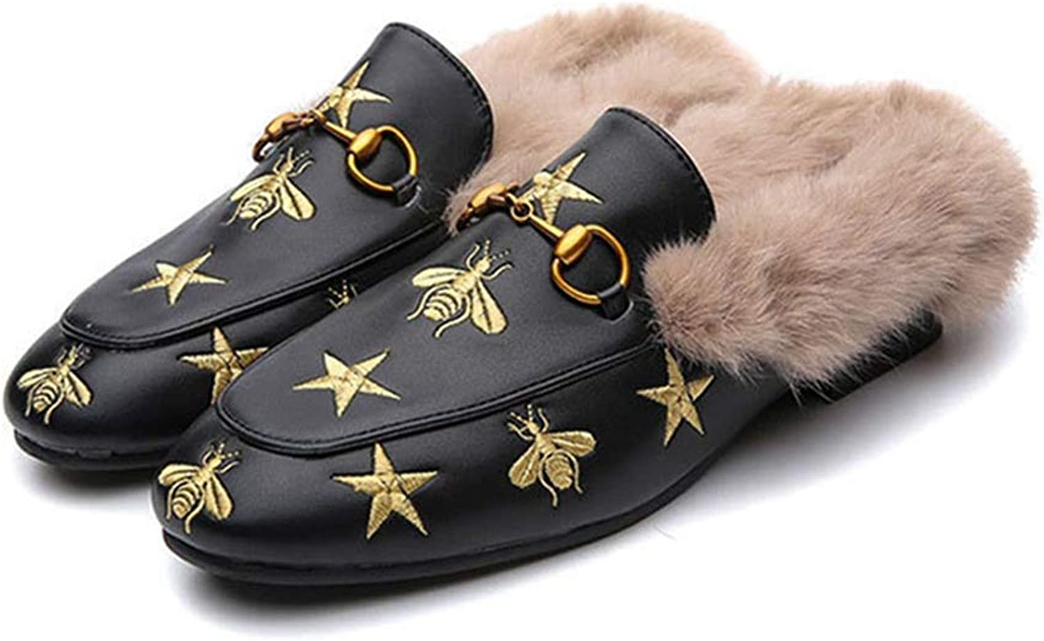 FAY WATERS Women's Fur Slippers Fashion Warm Casual Outdoor Flat Mules Slides