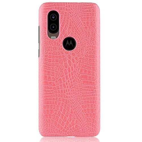 Para Motorola Moto One Vision / P40 capa de couro sintético com estampa de crocodilo (rosa)