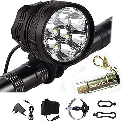 Fanale per biciclette con LED CREE XM-L T6, Luce a LED frontale per manubrio di bicicletta con portachiavi con torcia (Nero), 7X