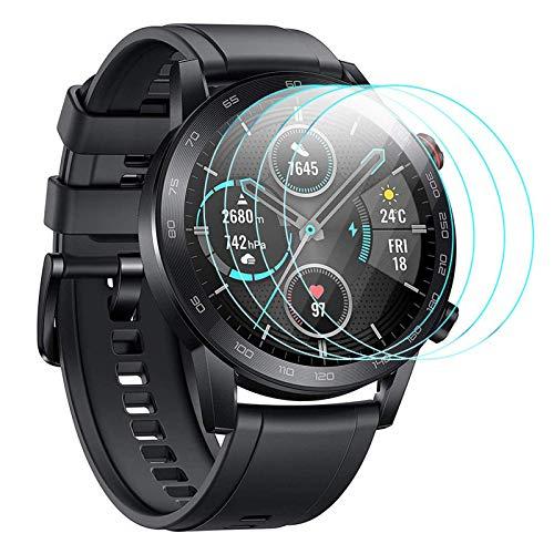 CAVN [4-Stück Kompatibel mit Honor Magic Watch 2 46mm Schutzfolie/Honor Watch GS Pro Panzerglas, Wasserdichtes gehärtetes Glas Anti-Scratch Anti-Bubble Bildschirmschutzfolie Schutz für MagicWatch 46mm