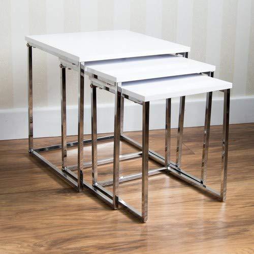 Home Discount Aztec lucido quadrato di tavolini in Bianco, colore: bianco