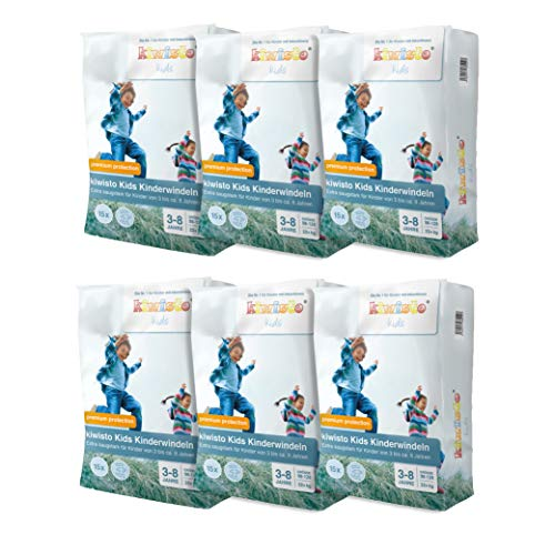 kiwisto Kids Kinderwindeln premium protection - 3-8 Jahre - extra saugstark, perfekt als Nachtwindel - 90 Windeln Megapack
