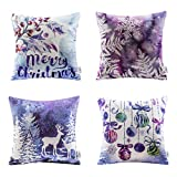 Ashler Christmas Throw Pillow Covers Fall Winter Decorative 18 x 18 inches, Pack of 4, Pillowcases Cotton Printing Christmas Tree Reindeer Series