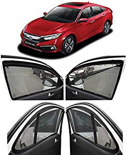 Autofact Magnetic Window Sunshades/Curtains for Honda Civic 2019 [Set of 4pc - Front 2pc with Zipper ; Rear 2pc Without Zipper] (Black)