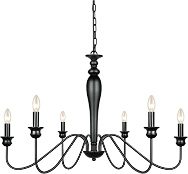 Derksic 6-Light Farmhouse Chandelier Black Iron Chandeliers Rustic Industrial Candle Chandelier for Dining Room Living Room K