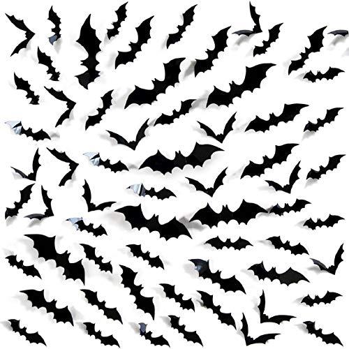 Voqeen 60 Pcs 3D Chauves Souris Autocollants d'halloween Stickers Murale Fenêtre Magasin Maison Bricolage Fournitures Décoration Fête Amovible PVC Imperméables Statique Autocollants