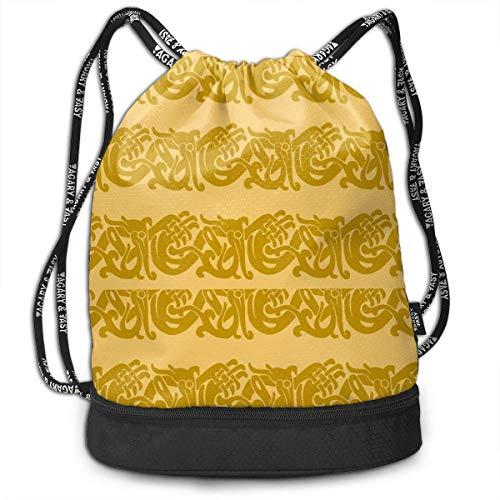 PmseK Turnbeutel Sportbeutel Kordelzug Rucksack, Sporttasche Merida Brave Celtic Border Gold Shoulder Bags Travel Sport Gym Bag Print - Yoga Runner Daypack Shoe Bags with Zipper and Pockets