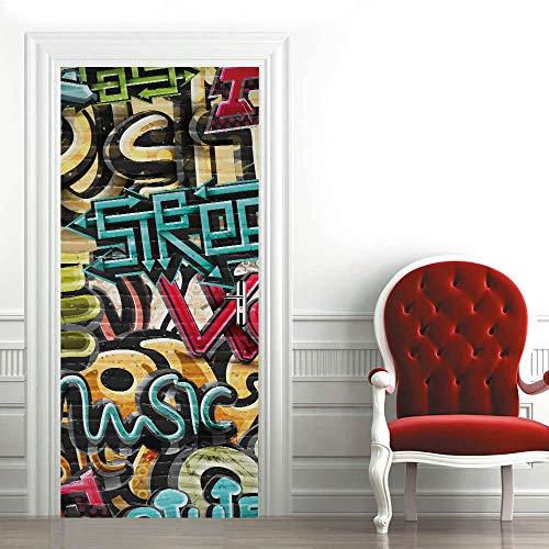 3D Mural Puerta Fondo Azul,Estilo Artístico Papel Pintado Puerta Autoadhesivo Vinilos Murales Carteles Impermeable Extraíble Adhesivos para Puertas Decoración Del Hogar 88x200cm